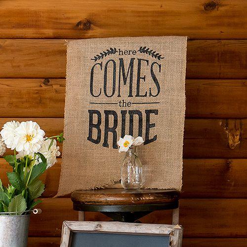 Here Comes The Bride Burlap Sign #burlapwedding #weddinginspiration #weddingdecor #wedding2015 #weddingideas www.weddingbelles.ca ONLY $14.50