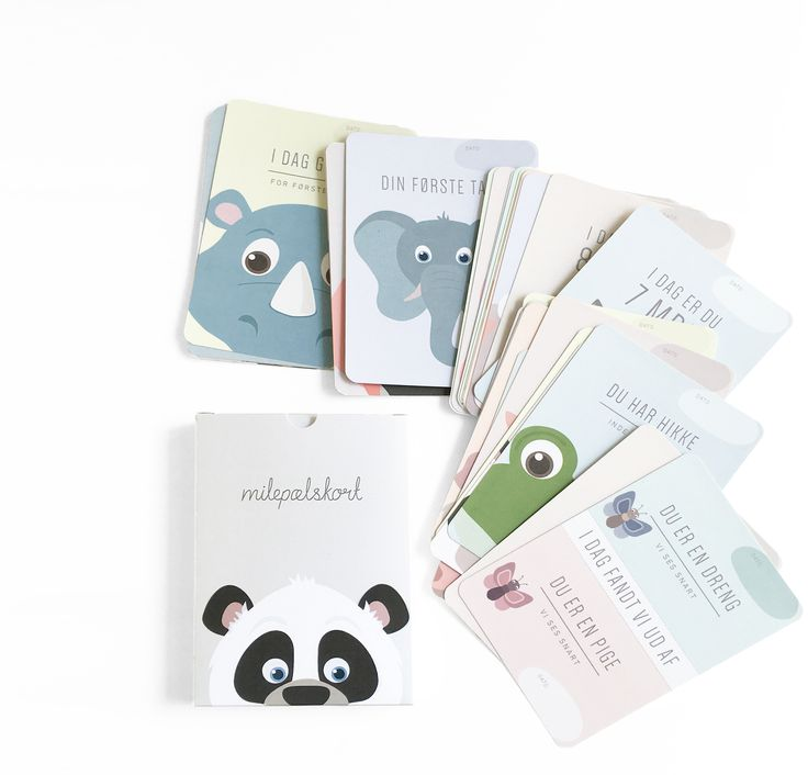 Milestone cards from Alfabetdyr - now with new packaging.