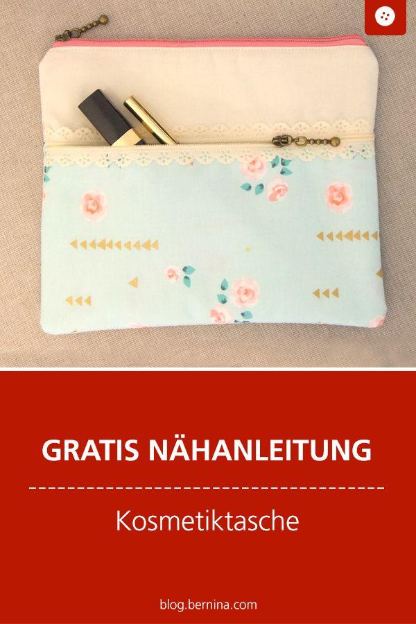 Kosmetiktasche mit 2 Reißverschlüssen – Schnittmuster kostenlos Taschen Freebooks