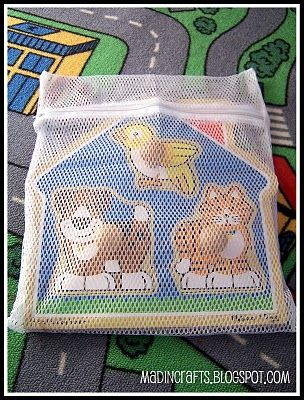 More Playroom Organization - Dollar store mesh bags to keep puzzle pieces together