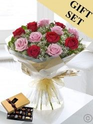 Heavenly Red and Pink Rose Hand-Tied & Chocolates