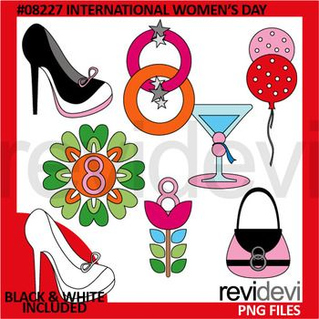 International Women's Day clip art set featuring high heel, balloon, purse, number 8, flower, and more fun elements! Just great for March 8 Women's day projects!Black and white version is also included.Great resource for any school and classroom projects such as for creating bulletin board, printable, worksheet, classroom decor, craft materials, activities and games, and for more educational and fun projects.Format File:- Each clipart saved separately in PNG format, 300 dpi with transparent…