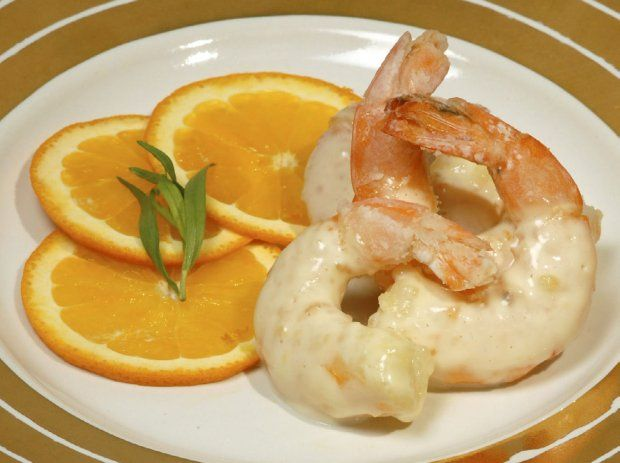 Grand Marnier Prawns Prawns with orange mayo make a great appetizer