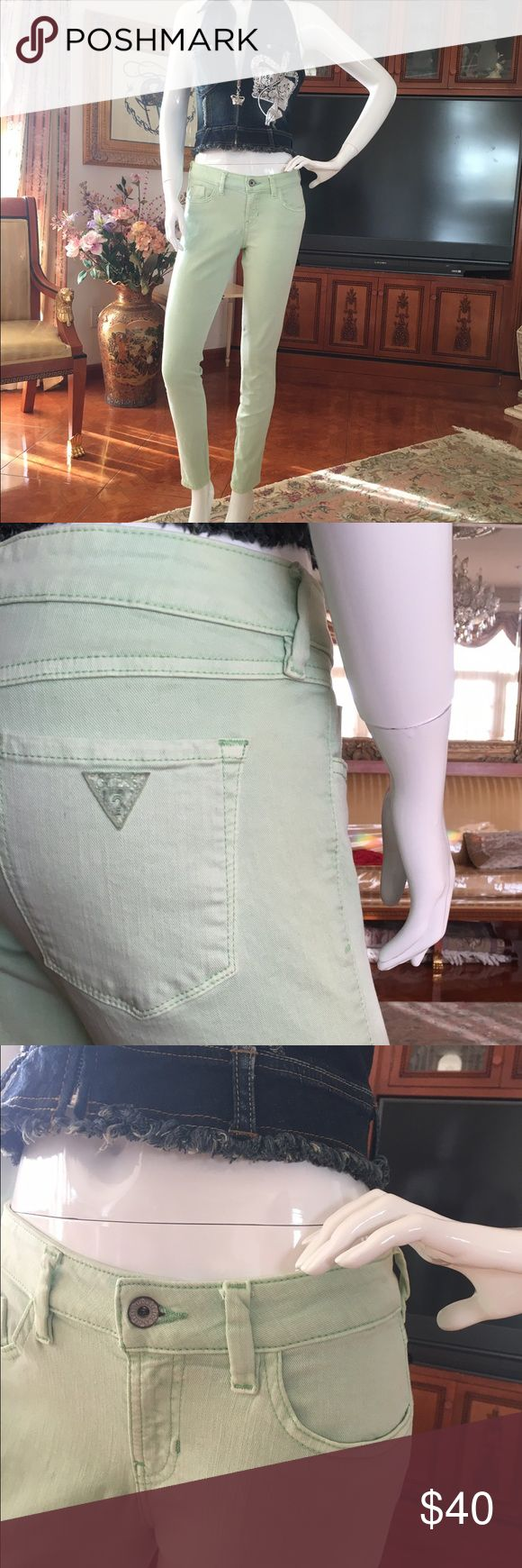 Guess women's skinny denim, pastel green pants denim light green women's skinny pants Guess Pants Skinny