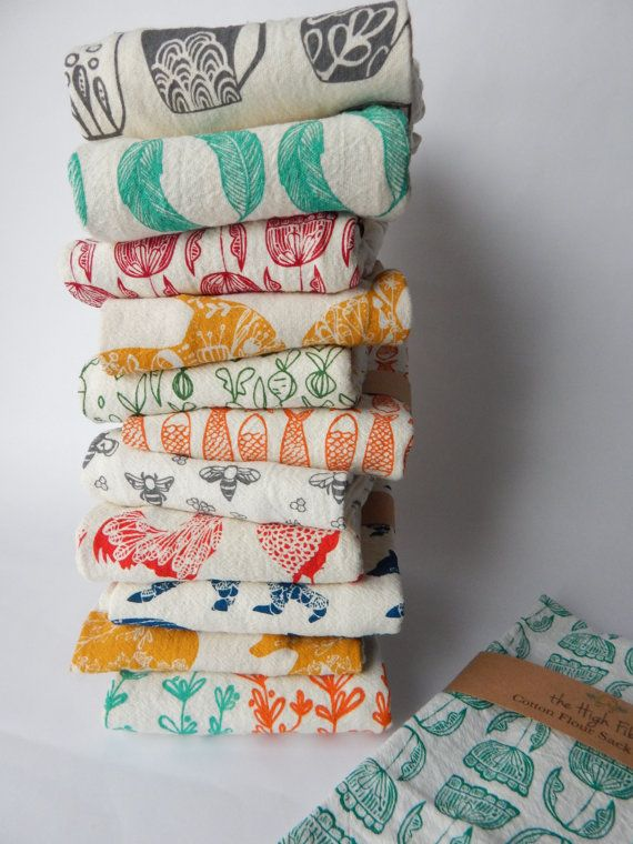 Kitchen Towels, Hand Printed Kitchen Towel Sets, Choose Your Set of 2, Hostess Gift, Dish Towel Sets, Zero Waste Gifts, Housewarming Gift
