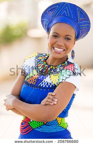 young south african zulu woman in traditional clothes portrait outdoors - stock photo