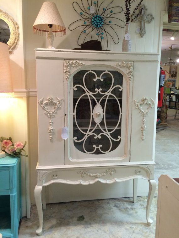 Antique China Cabinet Shabby Chic Chalk Painted in a Creamy Ivory Paris Themed Stenciled One Appliqued Hearts and Roses