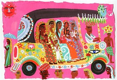 Ladies in auto rickshaw - An illustration by Christopher Corr