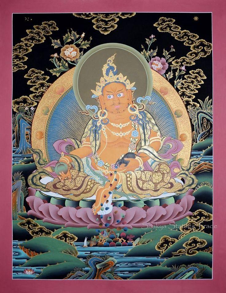 "26.25"" x 20.25""  Jambhala Tibetan Buddhist Karmakoti Thangka/Thanka Painting"