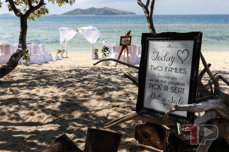 On the white sands of Sunset Beach at Mana Island in Fiji - Tanya and Maurice tied the not with around 80 family members present.  Congratulations!  Watch their highlights video here #fijiweddings #fiji #manaisland