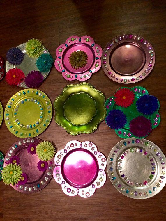 Mehndi Party Trays : Colorful handmade mehndi plates by peacockrusticwonders on