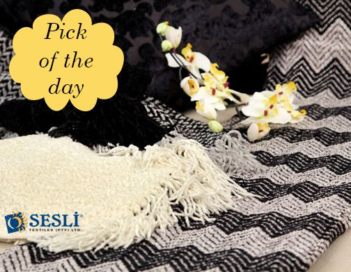 Make a bold statement with these two contrasting colours! It is a great choice for any modern room in your home - black and white Chenille Throws makes any room stylish and trendy. http://sesli.co.za/index.php/chenille-throws For enquiries: 011-674-5114 or email sales@sesli.co.za