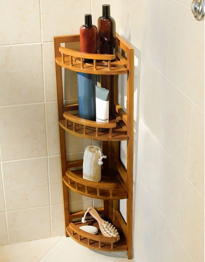Bathroom Corner Cabinet Appealing Bamboo Corner Shower Caddy For Bathroom Accessories And Decorating Bathroom Corner Shower Caddy Shower Shelves Corner Shower