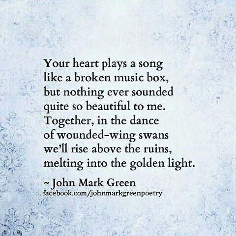 Unique love poem by John Mark Green #johnmarkgreenpoetry #johnmarkgreen #swans - music box - love quotes and sayings