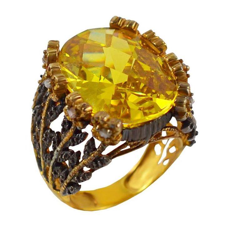 ES198- Ασημένιο επίχρυσο δαχτυλίδι με κίτρινη πέτρα