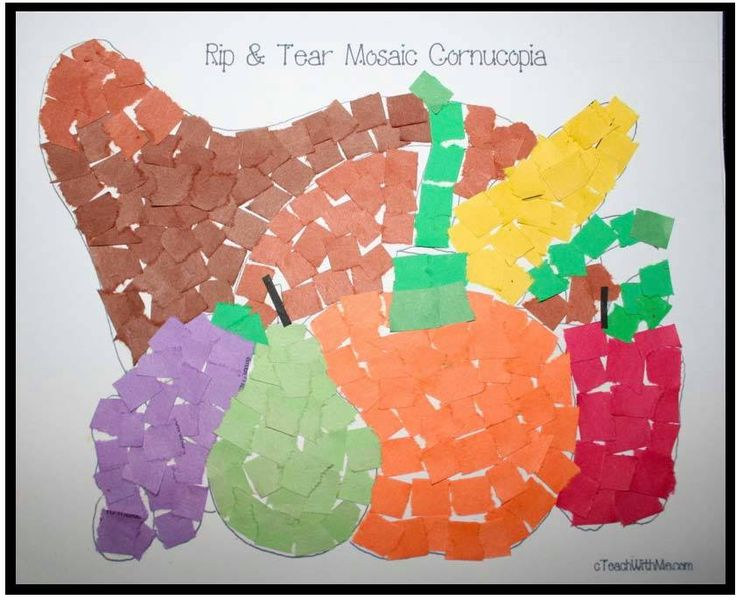 Rip and tear mosaic cornucopia preschool thanksgiving for November arts and crafts for daycare
