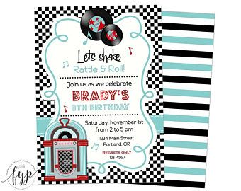 50's Birthday Invitation - Fifties Birthday Invitation - Sock Hop Invite - 50's Invitation - 50's Dance Party - 1950's Birthday Party
