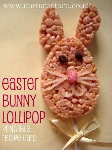 Free printable recipe card for this easy kids Easter recipe: Easter bunny lollipops - yum!