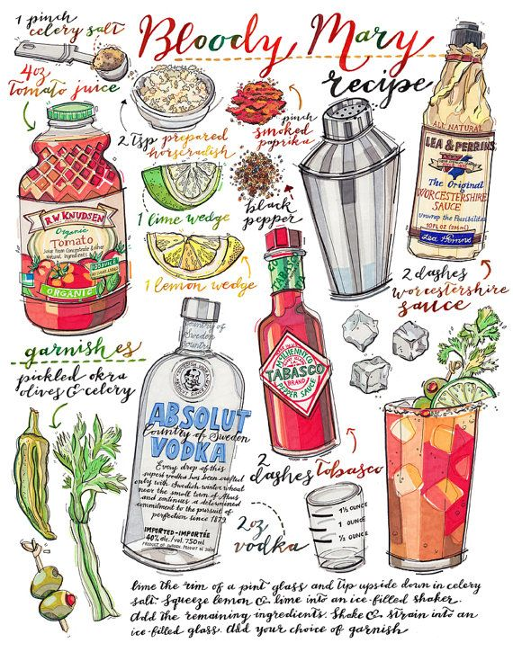 Bloody mary print. Cocktail illustration. Recipe. Bar by LouPaper