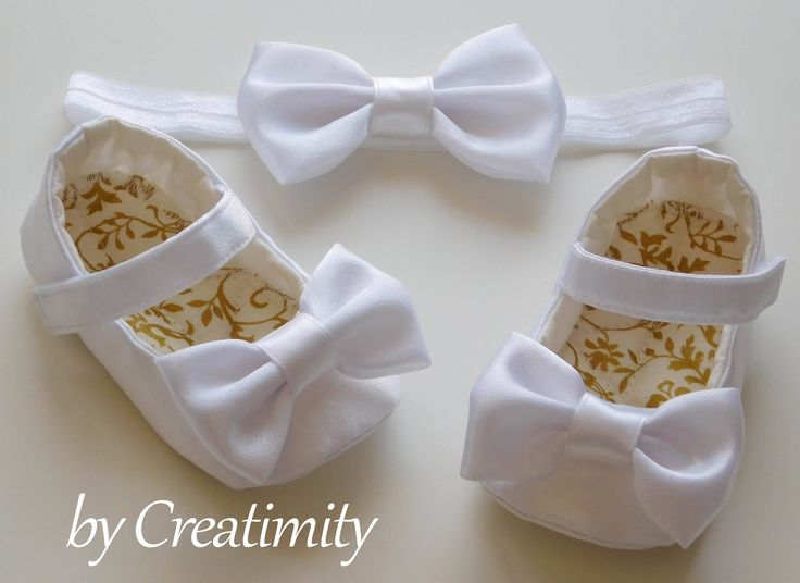 White ivory girl shoes, christening shoes, baptism shoes, wedding shoes, ballerina shoes, flower girl flats, crib shoes, bow shoes by CreatimityElegance on Etsy