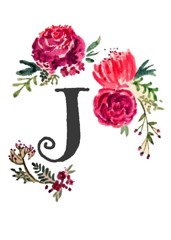 Floral Monogram Watercolor J By Saraloone Planner