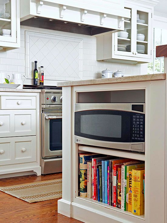 Smart Storage - tucking the microwave oven in the island.