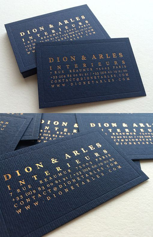 Refined And Elegant Minimalist Copper Foil On Navy Blue Business Card For An Interior Designer