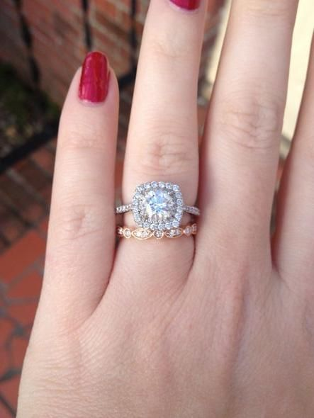 Rose Gold Wedding Bands And White Engagement Rings Do Mix If You Style Them