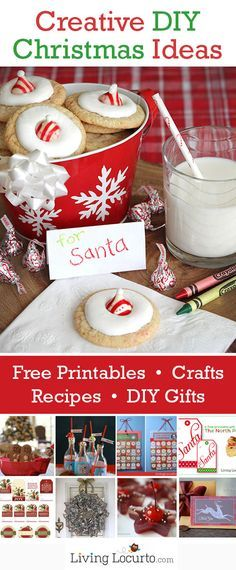 Creative DIY Christmas Ideas! Tons of cute free printables with great holiday recipes & gift ideas on LivingLocurto.com #Christmas