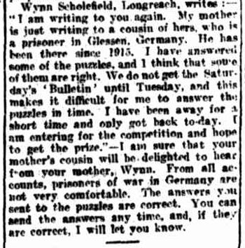 In 1916, my grandfather, George Wynn SCHOLEFIELD, was 12 years old. Wynn, as he was known to his family and friends,liked to read the stories and pit his wits against the puzzles printedin...