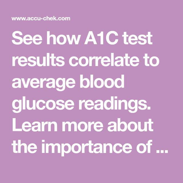 See how A1C test results correlate to average blood glucose readings. Learn more about the importance of A1C, compliments of the makers of Accu-Chek products.