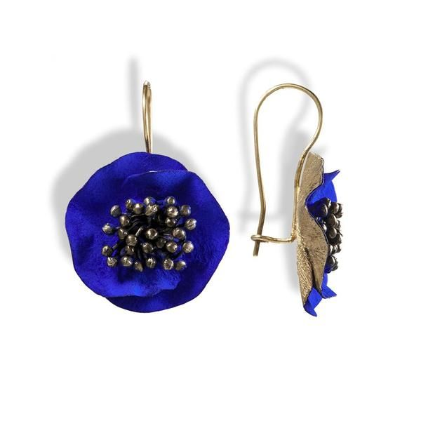 Handmade Gold Plated Silver Blue Flower Earrings - Anthos Crafts - 1