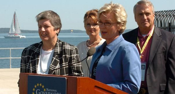 Arizona Gov. Janet Napolitano, (from left) Alaska Gov. Sarah Palin, Michigan Gov. Jennifer Granholm and Colorado Gov. Bill Ritter participate in opening remarks at a ceremony for the 99th meeting of the National Governor's Association conference along the shore of Grand Traverse Bay, on July 21, 2007, in Traverse City, Mich.
