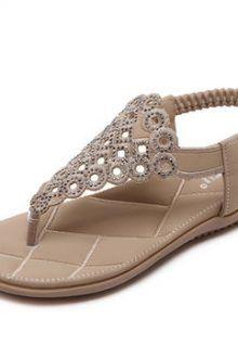 Bohemia Rhinestones Clip Toe Elastic Band Flat Beach Sandals 220x330 Summer Sandal Ideas