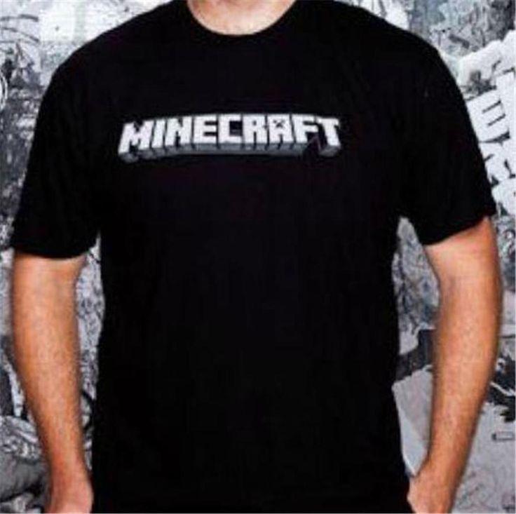 Minecraft Logo Men Short Sleeve T Shirt Black Large - Free Shipping
