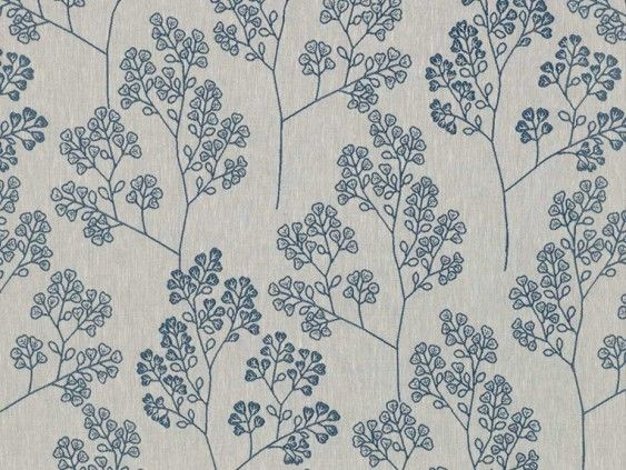 Westland Indigo Fabric by Tru Living - A blue embroidered floral pattern on a coarse, natural coloured background