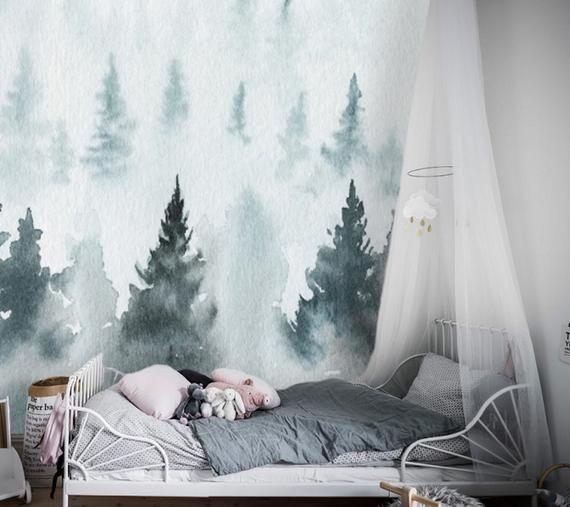 Blue Forest Watercolor Removable Wallpaper Peel And Stick Etsy Nursery Wallpaper Baby Nursery Wallpaper Kids Room Wallpaper