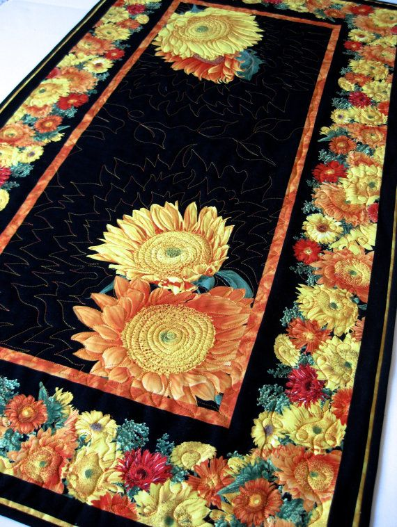 Leaves are starting to turn...time for fall decor. Quilted Table Runner Sunflowers Autumn Decor by SallyManke on Etsy,