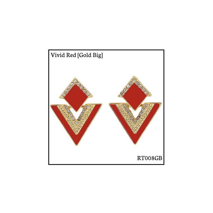 Ref: RT008GB Vivid Red [Gold Big] . Medidas: 3.5 cm x 2.8 cm . So Oh: 5.99 . Disponível para entrega imediata! Boas compras! #sooh_store #onlinestore #rhombus #trigonal #brincos #earrings #fashion