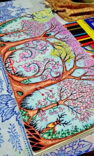 Coloring Ideas From The Secret Garden See More Trees Owl Enchanted Forest Rvores Coruja Floresta Encantada Johanna Basford