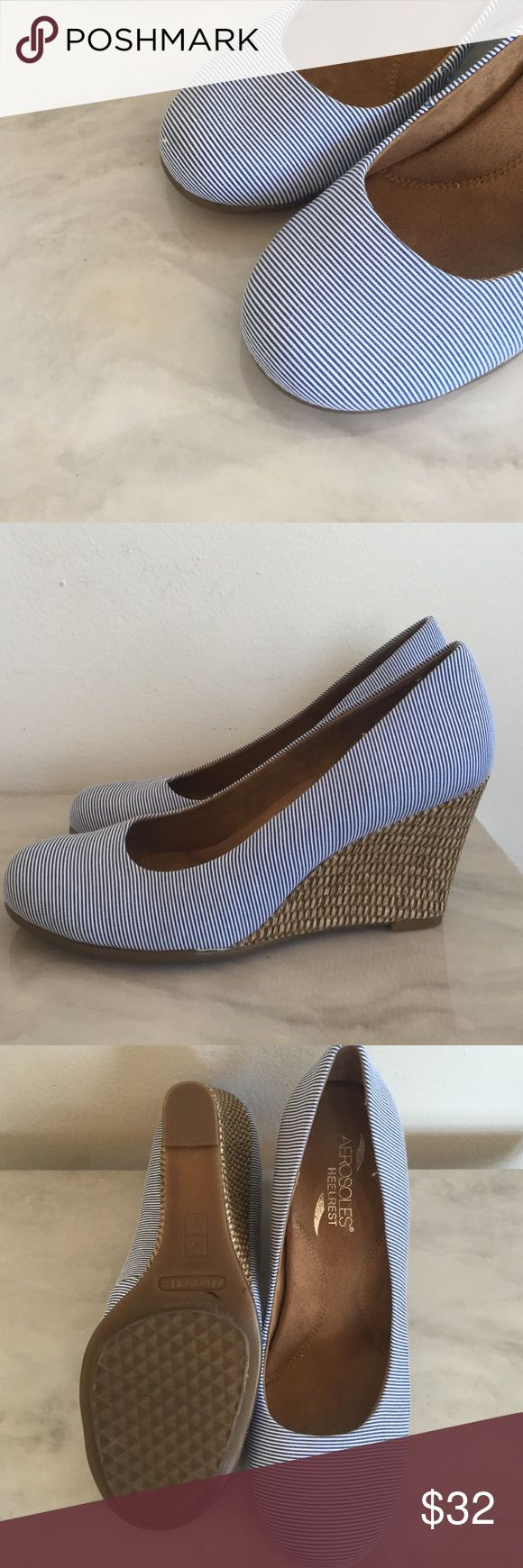 Aerosoles blue and white striped wedges New, never worn! Perfect for spring and summer AEROSOLES Shoes Wedges