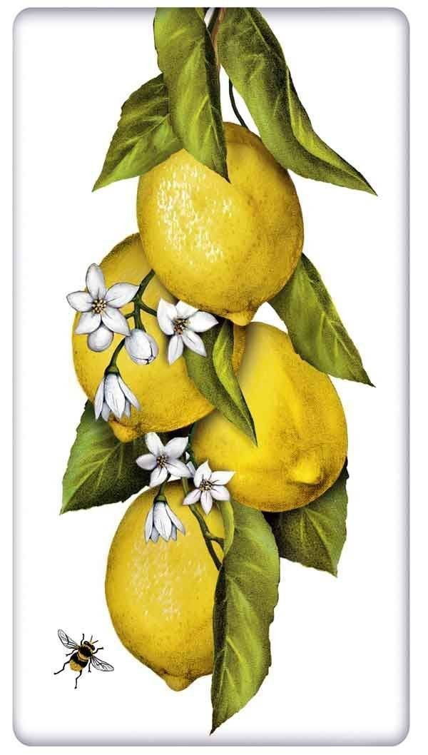 Lovely Hanging Lemons 100% Cotton Flour Sack Dish Towel Tea Towel