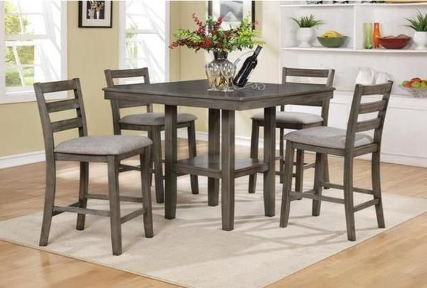 This Five Piece Counter Height Table Set Is A Great Way To Update A Casual Din Counter Height Dining Table Set Counter Height Dining Sets Solid Wood Dining Set