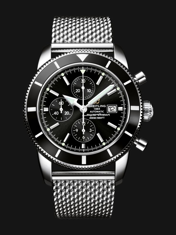 Superocean Héritage Chronographe 46 watch by Breitling - stainless steel case with black bezel and dial, steel mesh bracelet