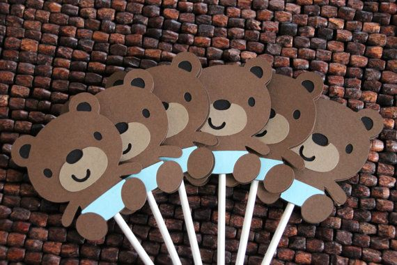 Teddy Bear Baby Shower Cupcake Toppers Boy por KangarooandBabyMoo