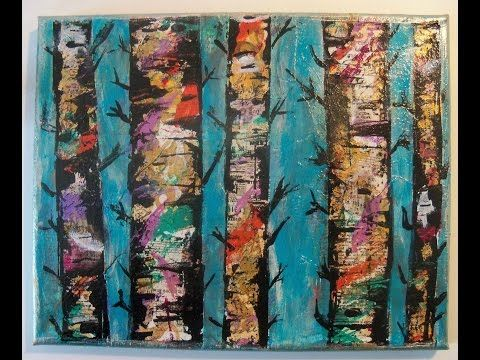 #Lovefallart -Mixed Media Canvas Birch Trees /Tutorial/ Mixed Media collage painting / - YouTube