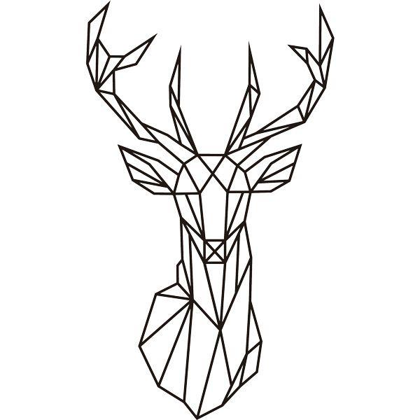Stickers muraux Origami tête de cerf géométrique
