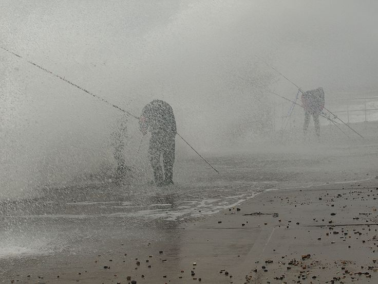 Fishing at Hornsea Beach by Tom Wood