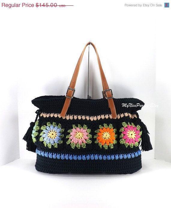 Crochet Floral Granny Squares Tote Bag