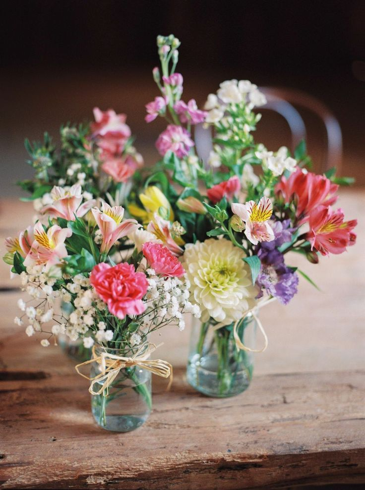 Bright Flowers in Jam Jars - Theresa Furey Photography | Rustic Wedding at Shustoke Farm Barn